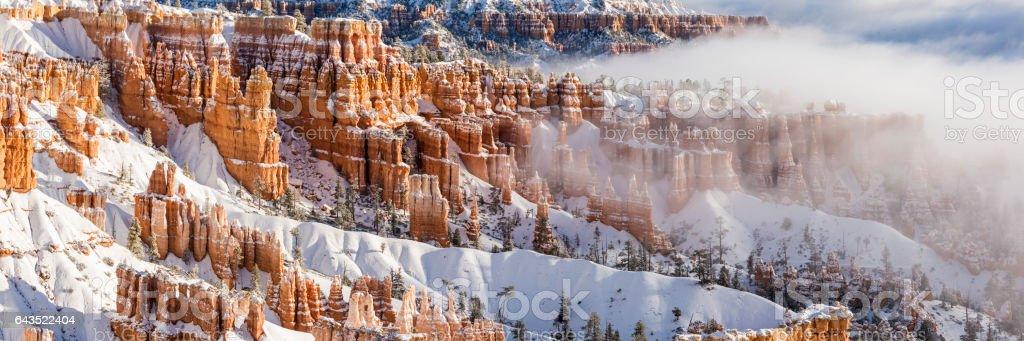 Bryce Canyon Hoodoos Foggy Panorama stock photo