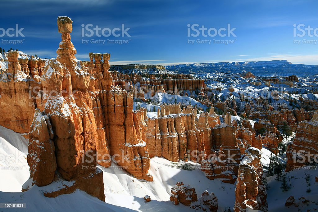 Bryce Canyon in Winter Thor's Hammer stock photo