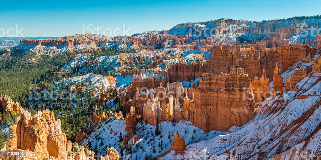 Bryce Canyon National Park colorful hoodoos snow panorama Utah USA stock photo