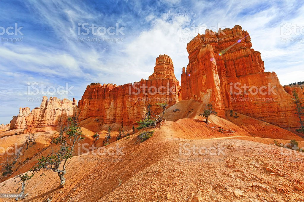 Bryce Canyon National Park Hoodoos and Footpath stock photo