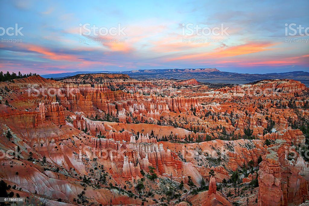 Bryce Canyon National Park Hoodoos at Sunset stock photo