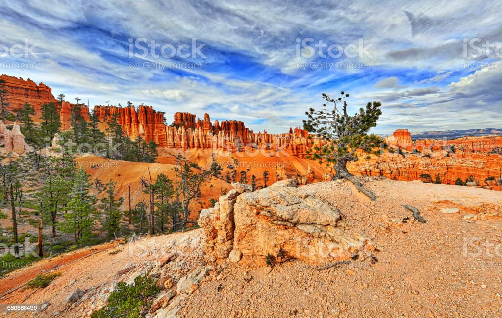 Bryce Canyon National Park. Peekaboo Loop Trail with focus on the footpath stock photo