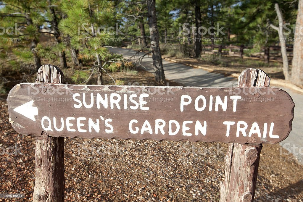 Bryce Canyon National Park : Sunrise Point sign stock photo