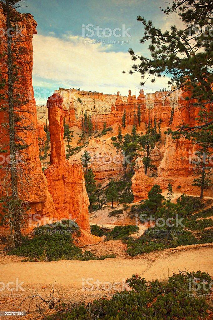Bryce Canyon National Park, Utah. Hoodoos and Footpath stock photo