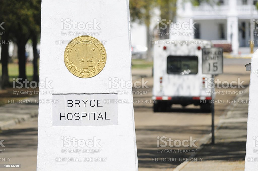 Bryce hospital entrance sign with bus stock photo