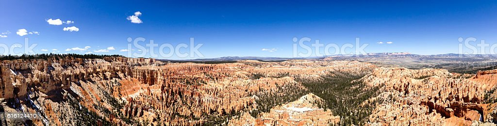 Bryce Point panorama, Bryce Canyon, blue sky stock photo