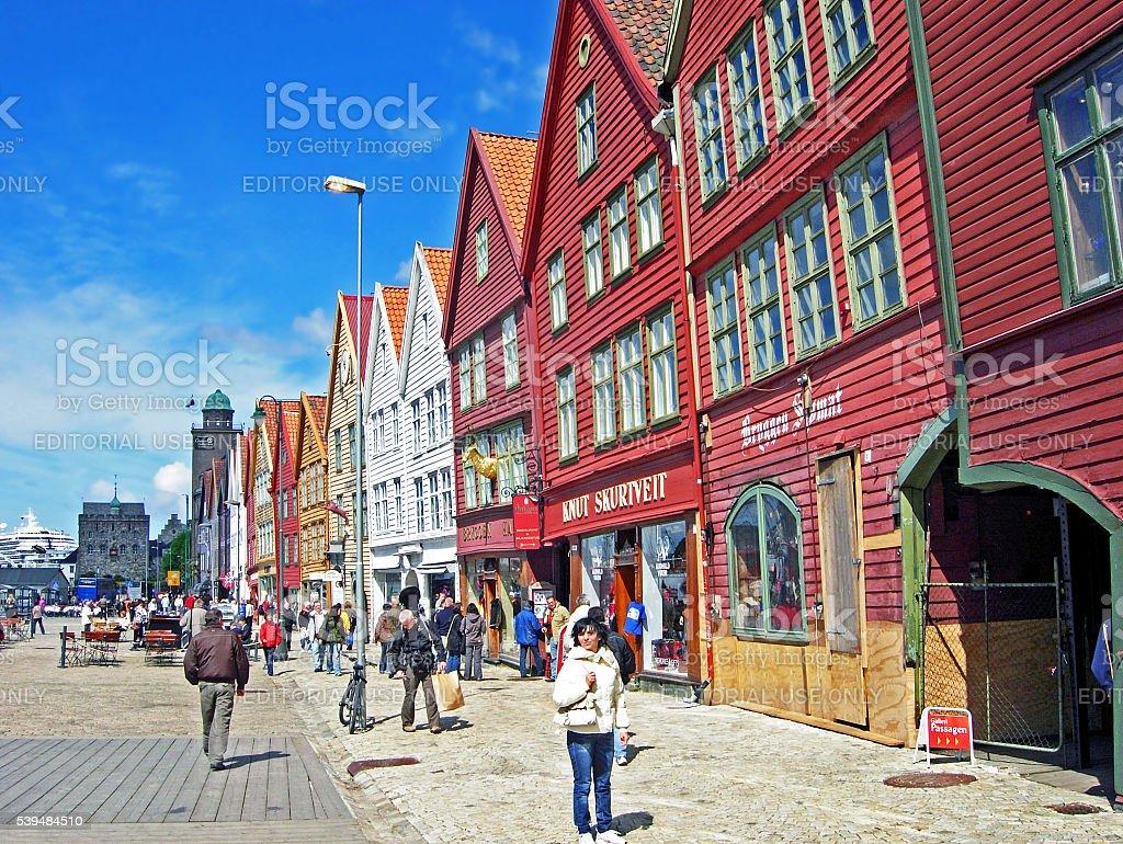 Bryggen district in Bergen (Norway) stock photo