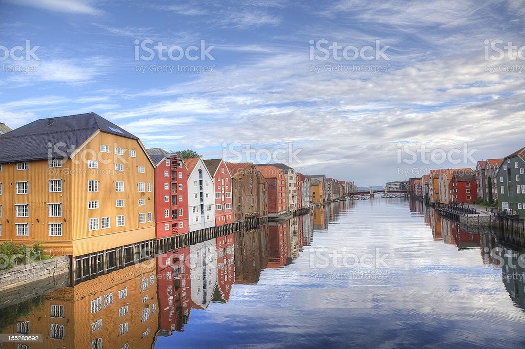 Bryggen in Trondheim, Norway. Buildings by the water. HDR. stock photo