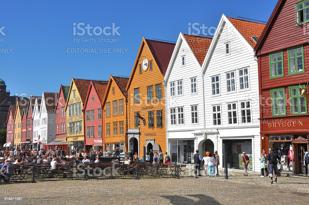 Bryggen, pre-hanseatic houses in Bergen - Norway stock photo