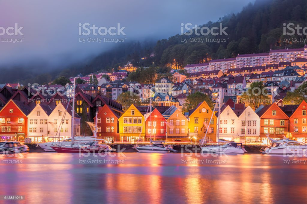 Bryggen street in Bergen, UNESCO World Heritage Site, Norway stock photo
