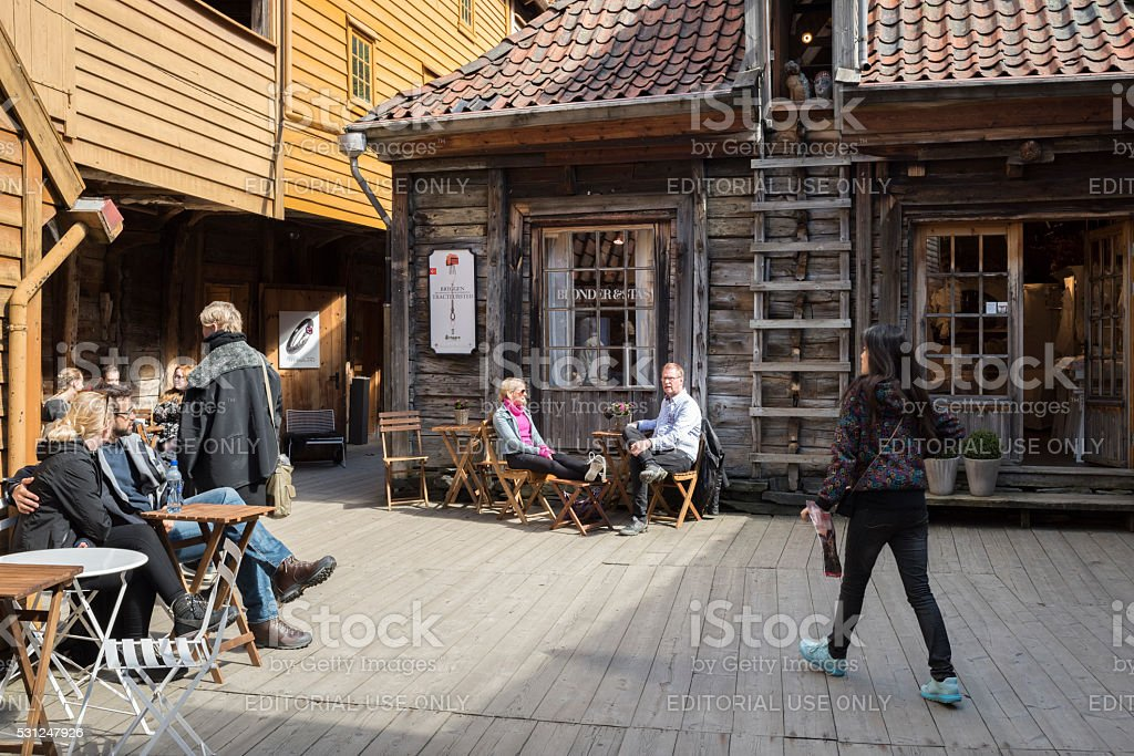 Bryggen Wharf in the city of Bergen in Norway stock photo