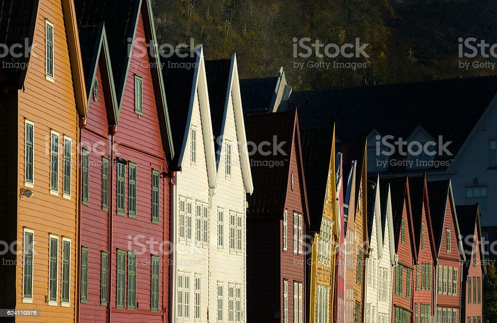 Bryggen world heritage in Bergen, Norway stock photo