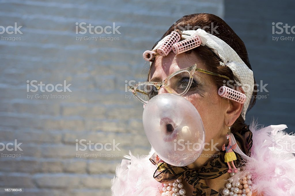 Bubble Blowing Baltimore Senior Hon stock photo