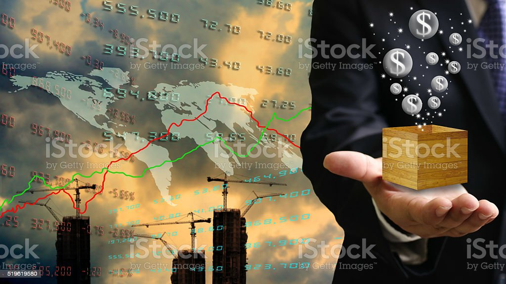 Bubble economy in property investment concept stock photo