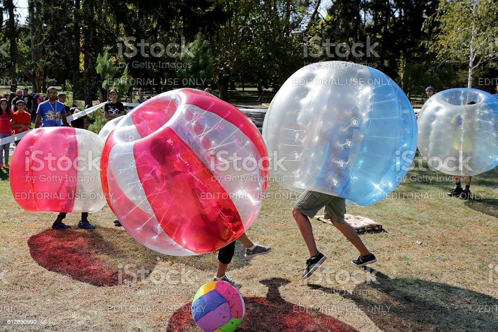 Bubble football game stock photo