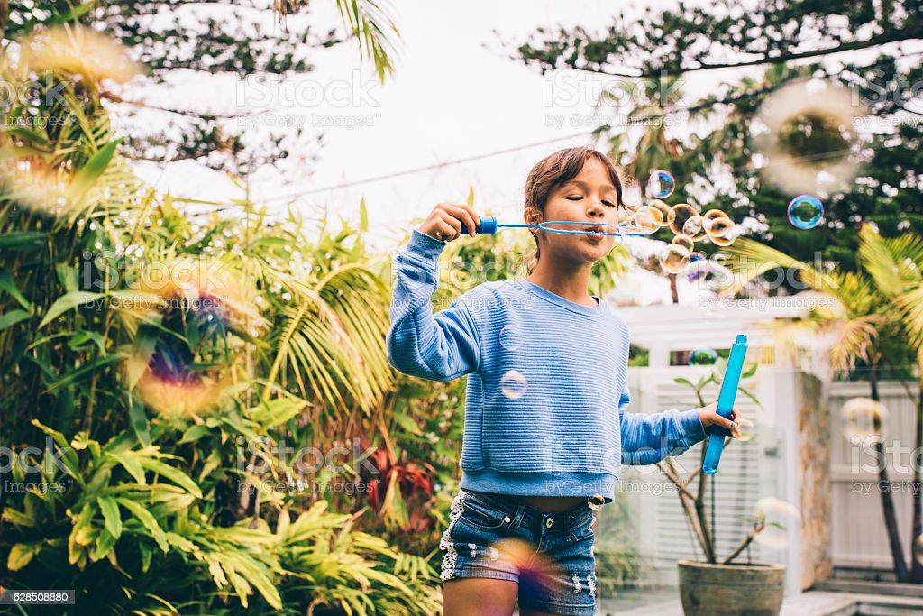 Bubble fun on the garden royalty-free stock photo