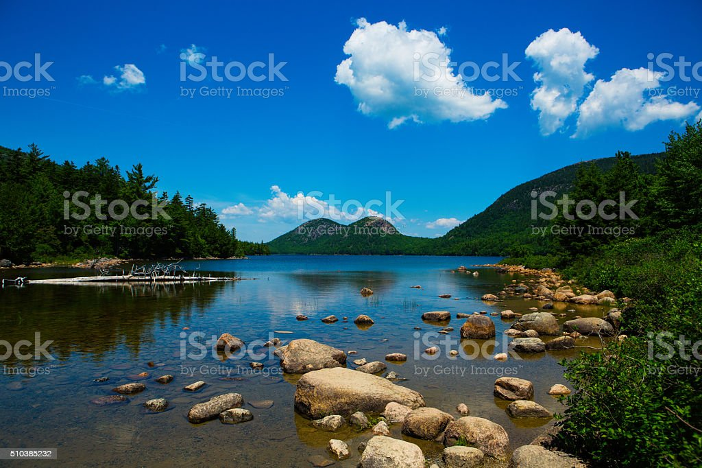 Bubble Mountains and Jordan Pond in Acadia National Park stock photo