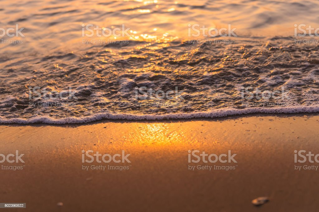 Bubble Sea waves in the morning stock photo