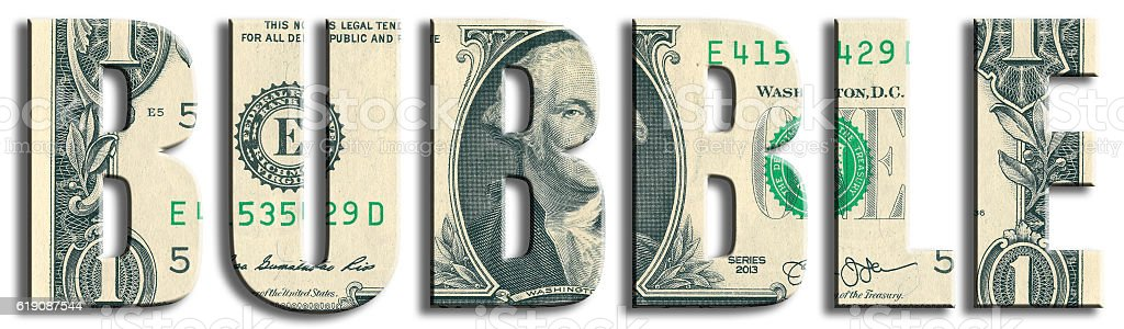 Bubble, situation of growing prices. US Dollar texture. vector art illustration