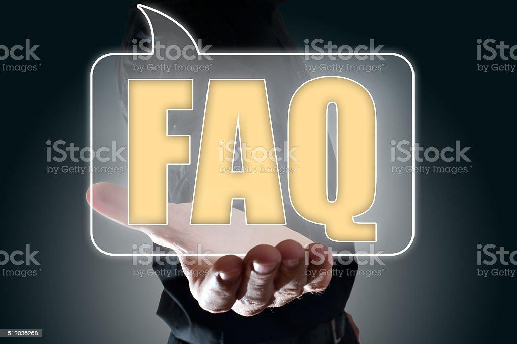 FAQ Bubble speech / Touch screen concept (Click for more) stock photo