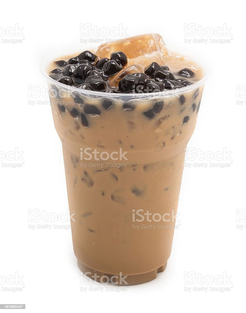 bubble tea brown isolated on white stock photo