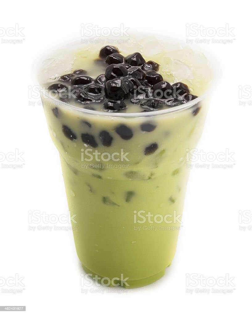 bubble tea green isolated on white stock photo