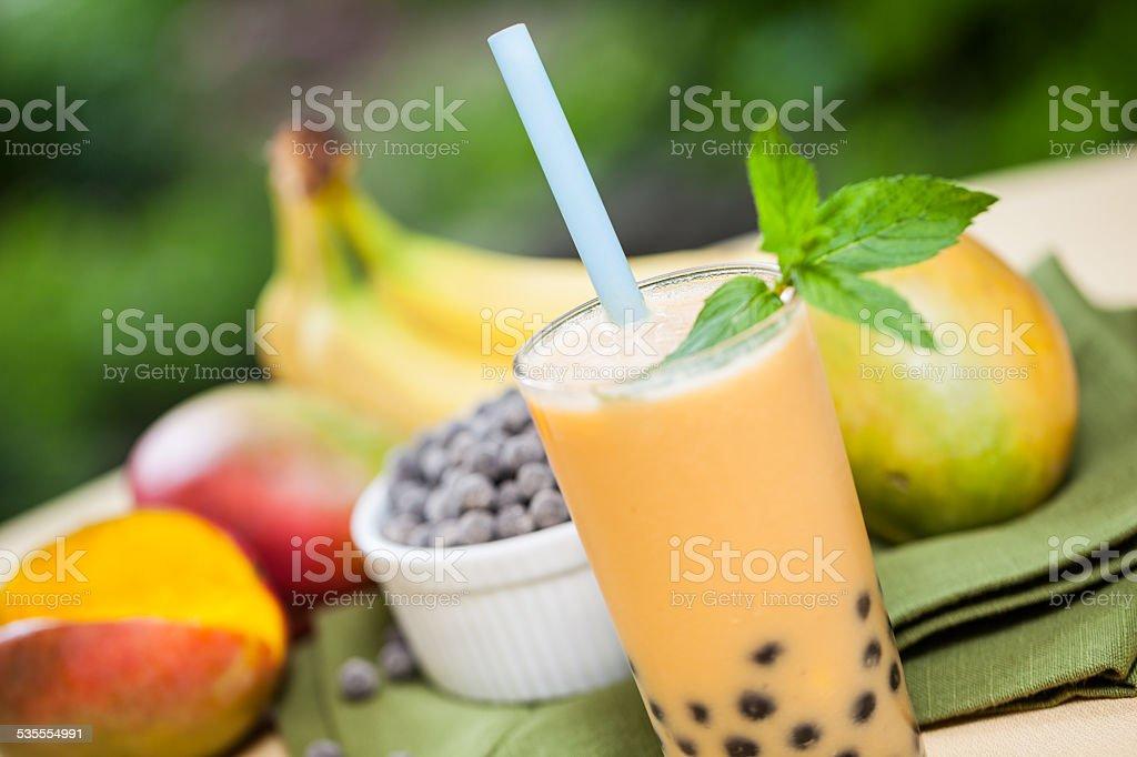 Bubble tea with ingredients stock photo