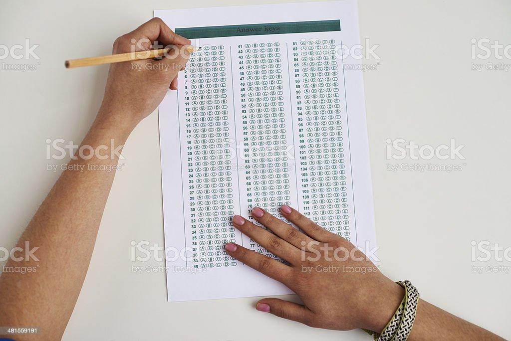 Bubble test sheet stock photo