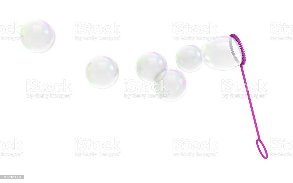 Bubble wand childrens toy blowing soapy bubbles into the air stock photo