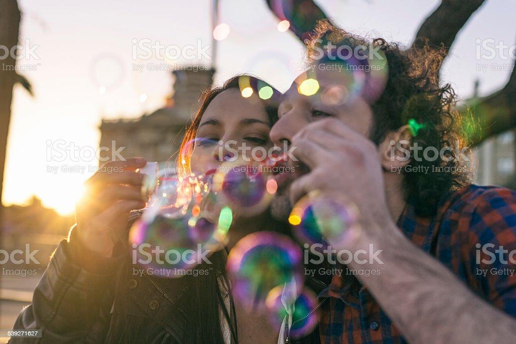 Bubbles fun stock photo