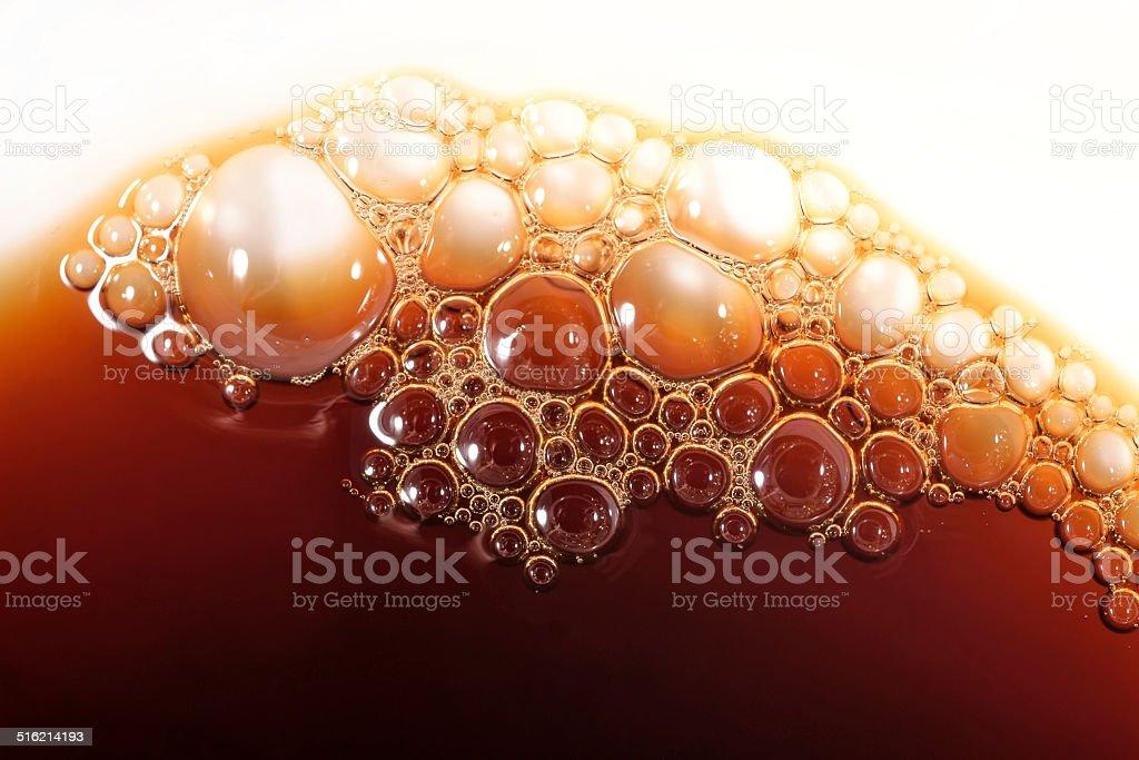 Bubbles of foam instant coffee stock photo