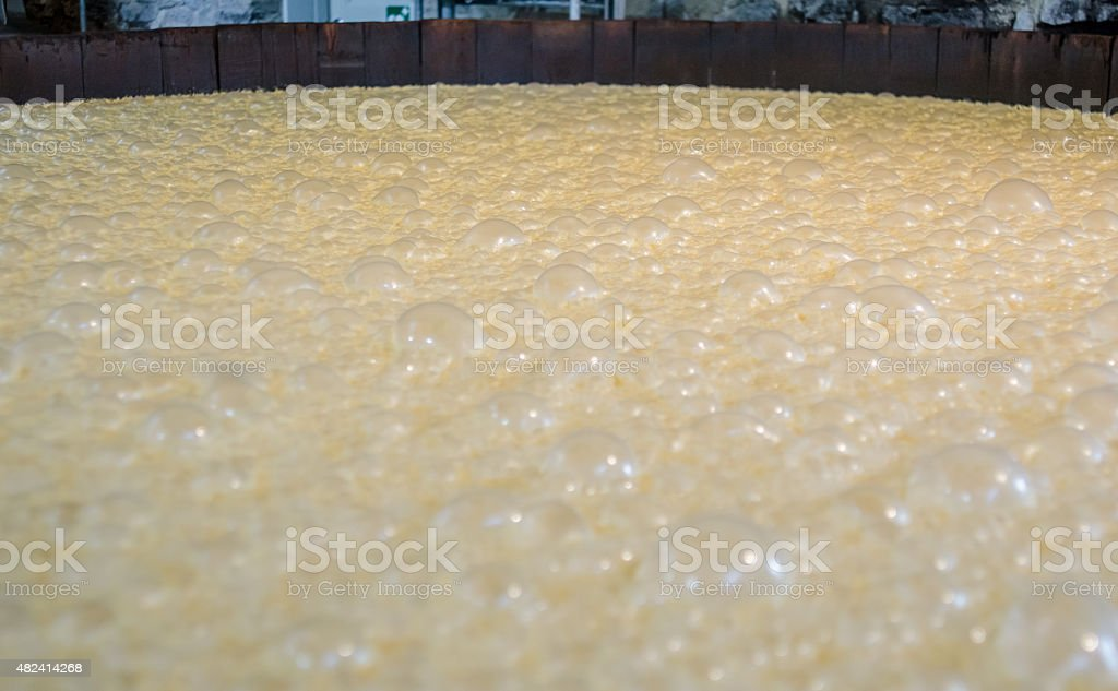 Bubbles on top of Bourbon Mash stock photo