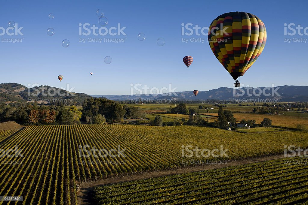 Bubbles over Napa stock photo