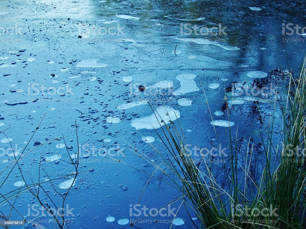 Bubbles Under The Ice stock photo