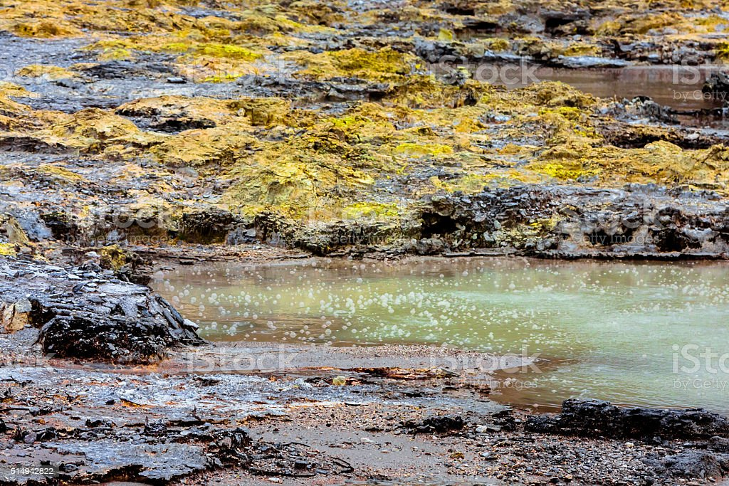 Bubbling Mud Pool in Rotorua stock photo