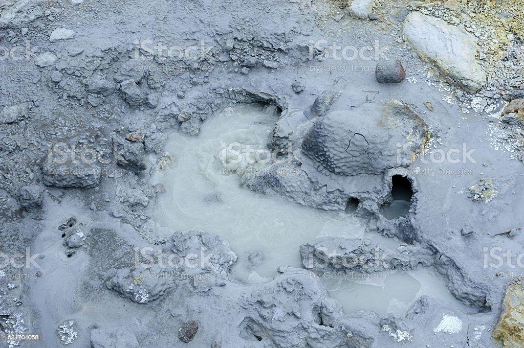 Bubbling mud pots at Seltun stock photo