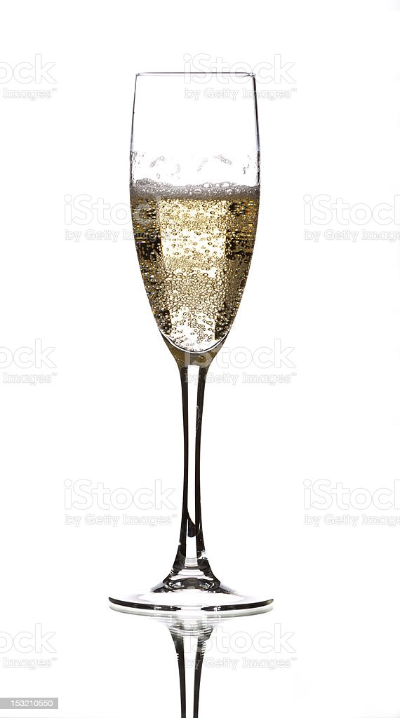 Bubbly champagne flute on a white background stock photo