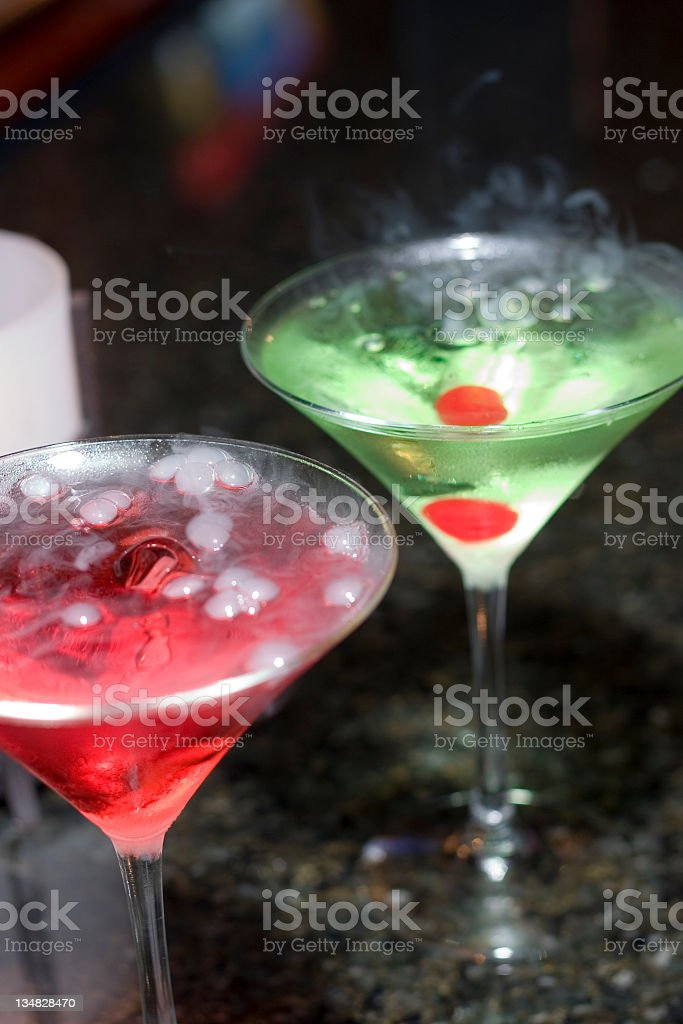 bubbly cosmopolitan and appletini royalty-free stock photo