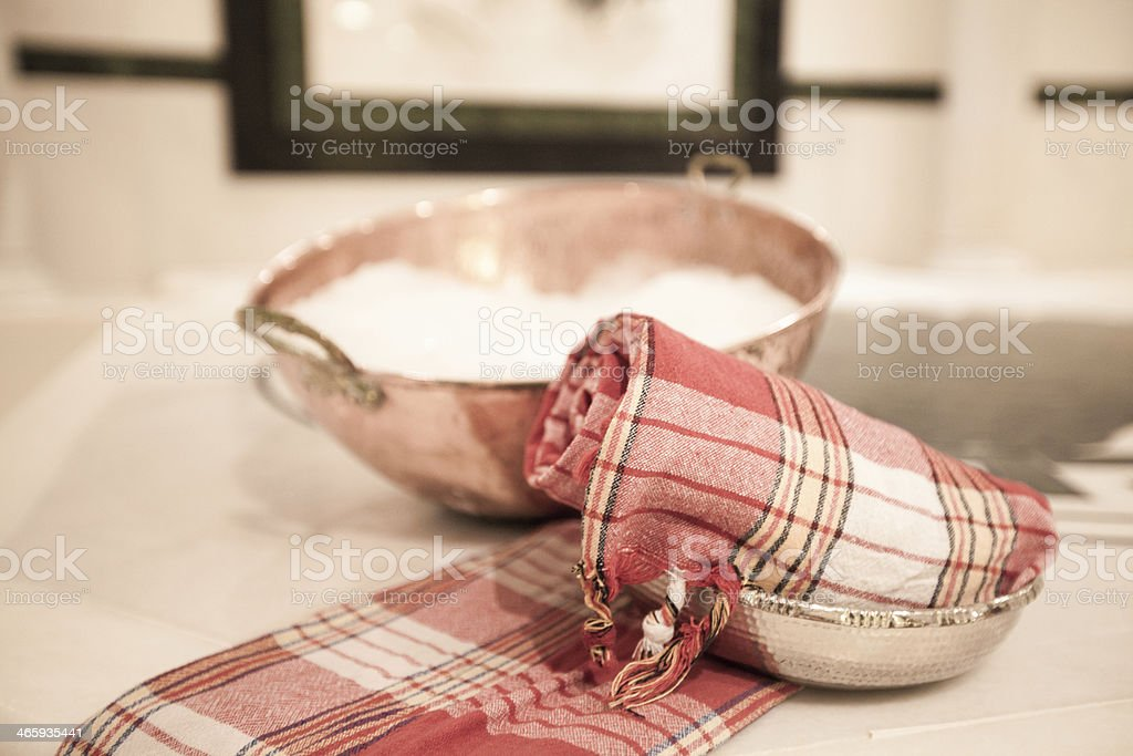Bublle bowl in Turkish bath stock photo
