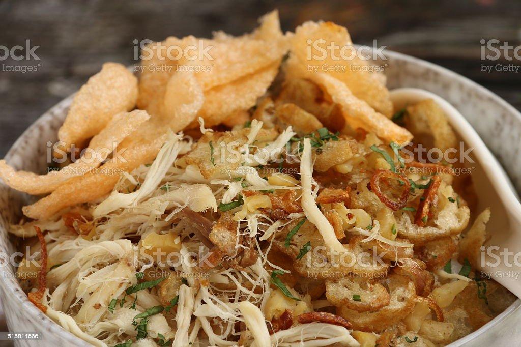 Bubur Ayam, Peranakan Rice Porridge with Chicken stock photo
