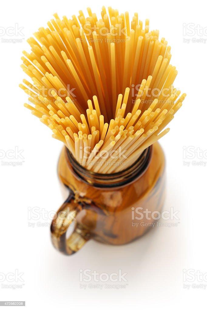 bucatini, italian pasta stock photo