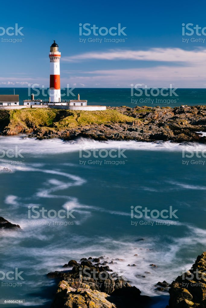 Buchan Ness lighthouse, Scotland stock photo