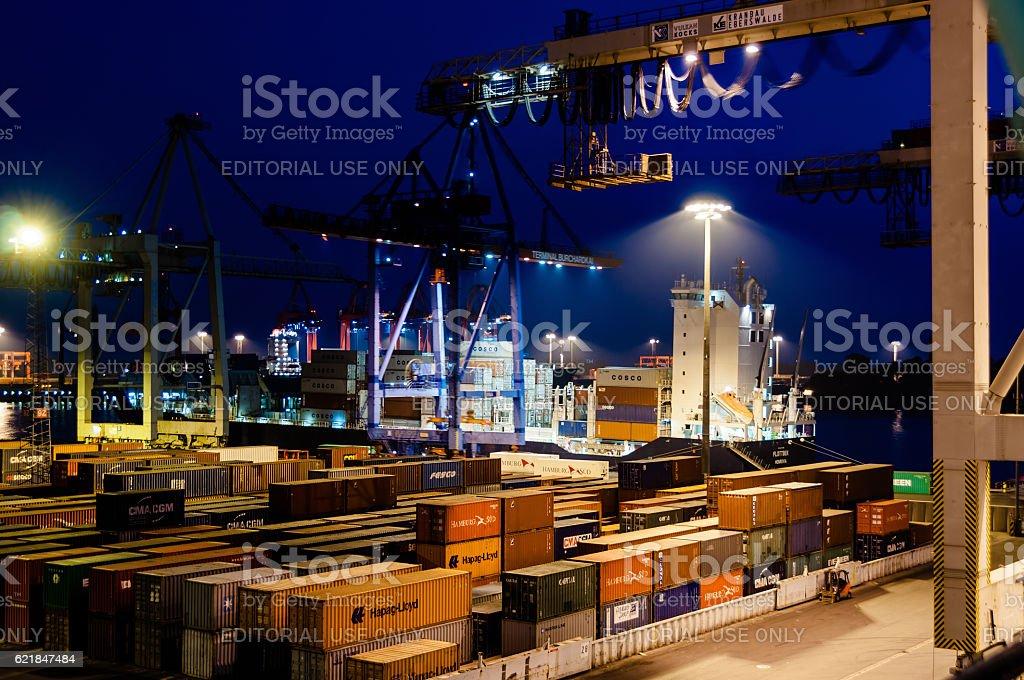 Buchardkai Container Terminal in Hamburg at night stock photo