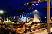 Buchardkai Container Terminal in Hamburg at night