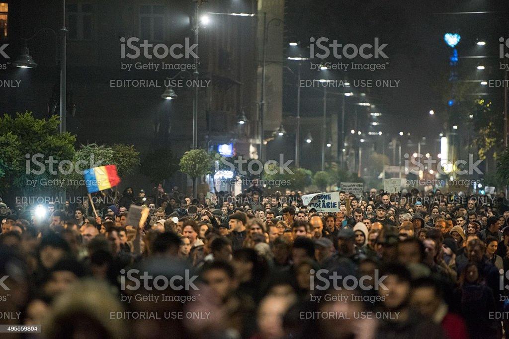 Bucharest antigovernment protest stock photo