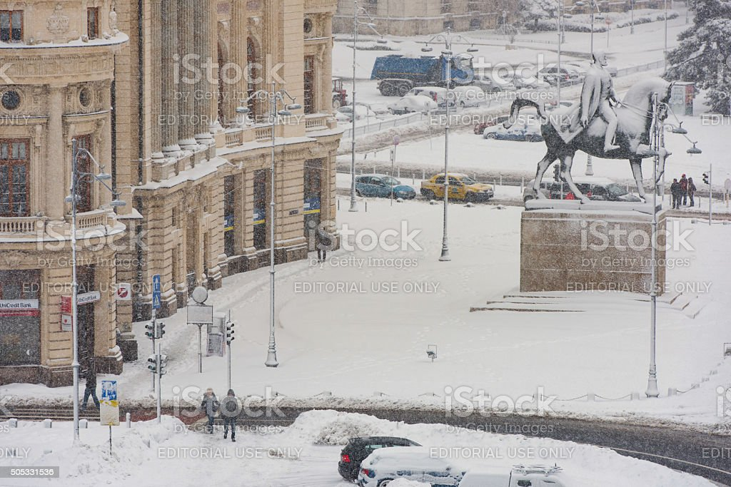 Bucharest center in a winter day stock photo