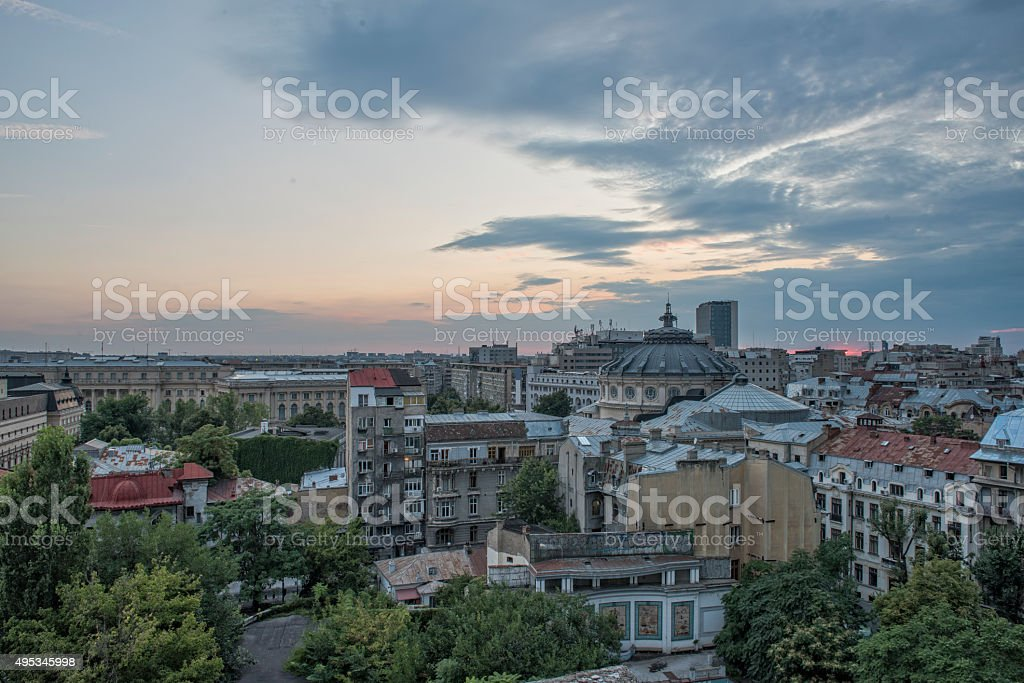Bucharest center view, with the Romanian Athenaeum in front stock photo