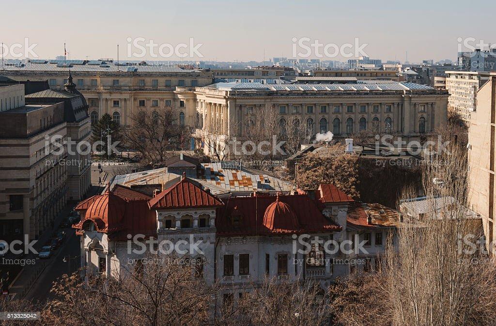 Bucharest city center - aerial view stock photo