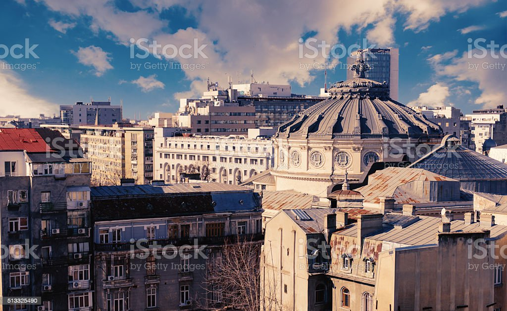 Bucharest city center - aerial view stock photo