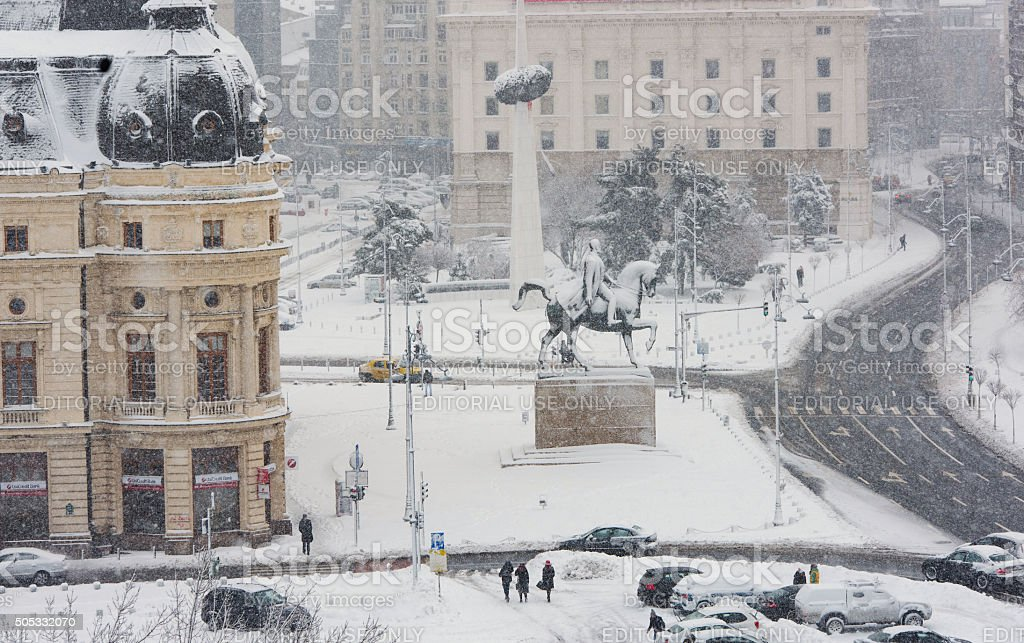 Bucharest downtown in a winter day stock photo